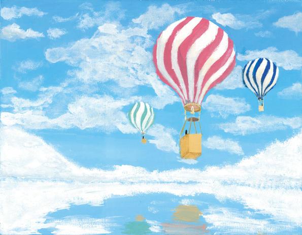 青に浮く気球
